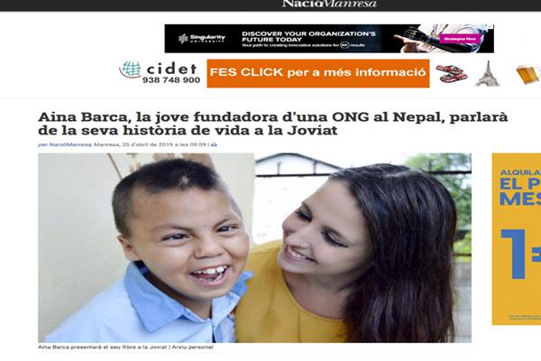 Aina Barca, la jove fundadora d'una ONG al Nepal, parlarà de la seva història de vida a la Joviat